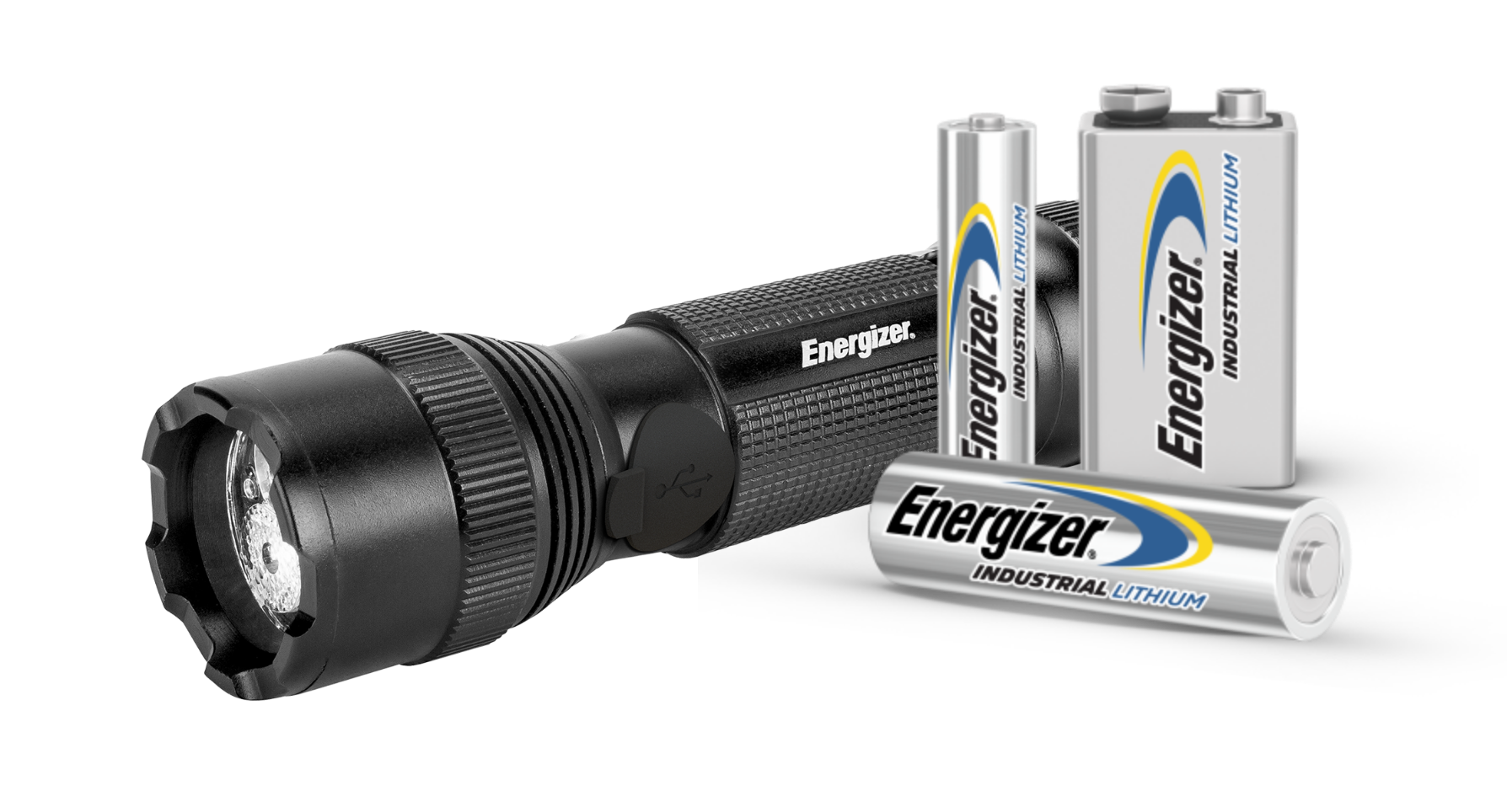 an Energizer Flashlight and 3 Energizer Industrial Lithium Batteries