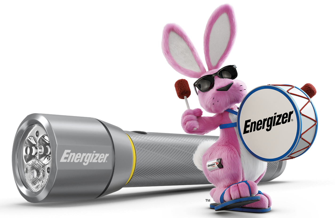 Energizer Bunny and the Energizer Vision HD Metal Flashlight