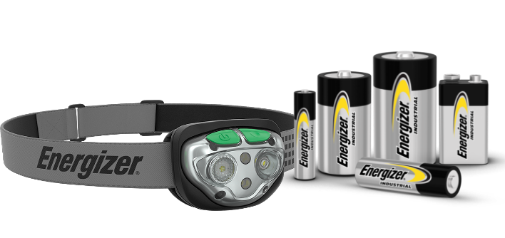 an Energizer Vision HD+ Focus Industrial Headlamp and some Energizer Industrial Alkaline Batteries