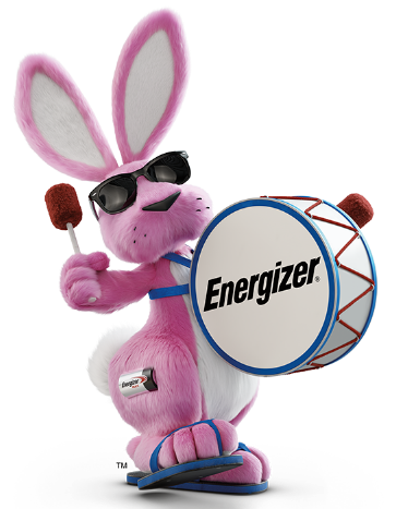 Energizer Bunny playing drums